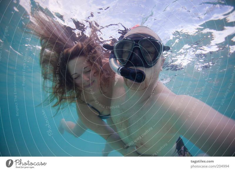 MY MERMAID & ME Frau Mann Wasser Ferien & Urlaub & Reisen Liebe Erholung Glück Haare & Frisuren Paar Zusammensein tauchen Vertrauen Schwimmen & Baden türkis genießen