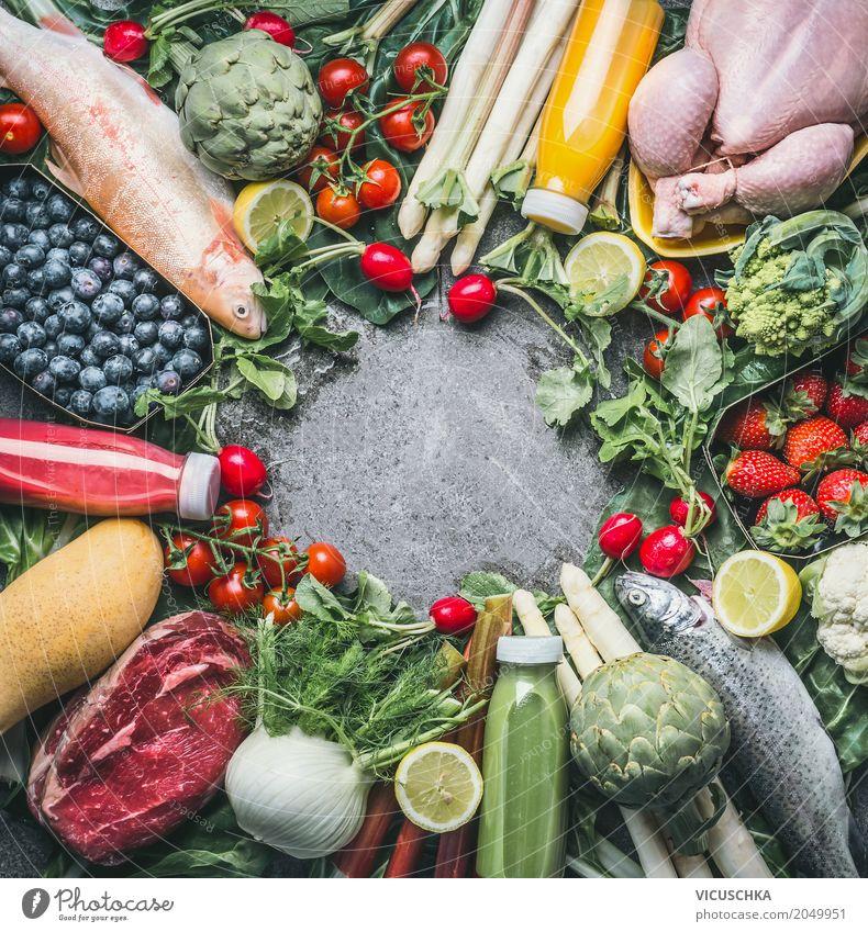 Lebensmittel Zuitaten für ausgewogene Ernährung Fleisch Fisch Gemüse Frucht Bioprodukte Diät Getränk Saft Stil Design Gesundheit Gesunde Ernährung Fitness