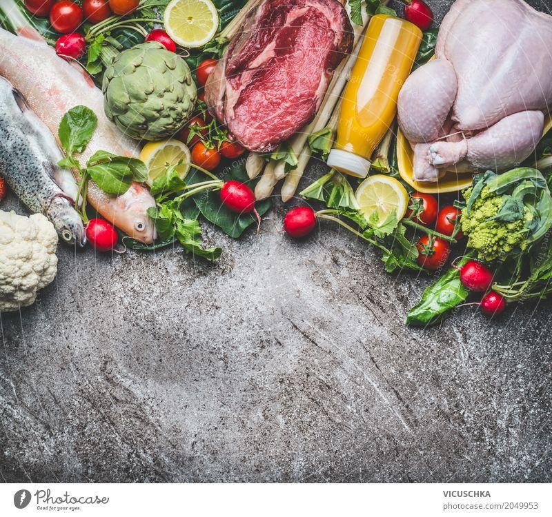 Zutaten für ausbalancierte Ernährung Lebensmittel Fleisch Fisch Gemüse Salat Salatbeilage Frucht Apfel Kräuter & Gewürze Bioprodukte Diät Getränk