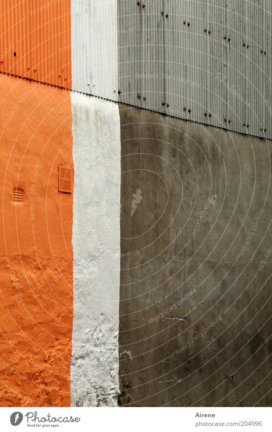 Klare Verhältnisse Gebäude Mauer Wand Fassade Dekoration & Verzierung Beton Metall Streifen einfach grau weiß Ordnungsliebe sparsam Design Farbe