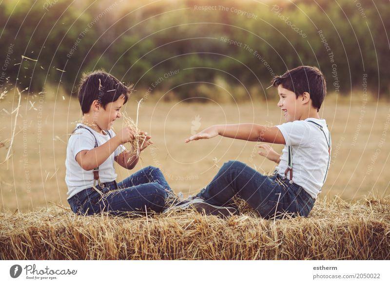 Brüder, die mit Stroh spielen Mensch Kind Ferien & Urlaub & Reisen Sommer Freude Lifestyle Frühling Liebe Gefühle Junge lachen Familie & Verwandtschaft