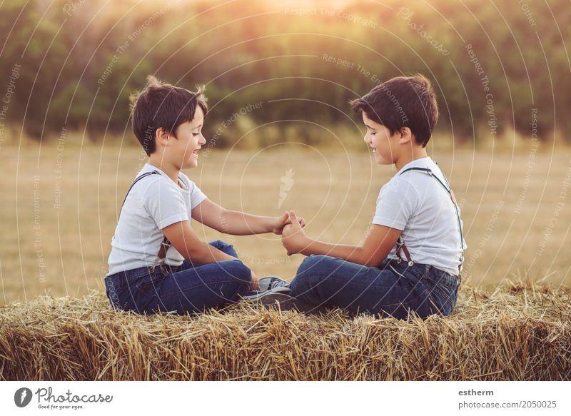 Brüder, die auf dem Gebiet spielen Mensch Kind Ferien & Urlaub & Reisen Sommer Freude Lifestyle Frühling Liebe Junge lachen Familie & Verwandtschaft Spielen