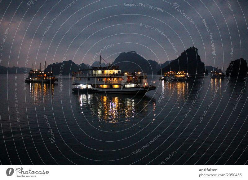 Halong Bucht bei Nacht Ferien & Urlaub & Reisen Tourismus Abenteuer Freiheit Sightseeing Kreuzfahrt Nachtleben Natur Landschaft Frühling Sommer Schönes Wetter