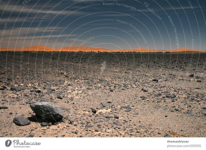 Himmel Natur Ferien & Urlaub & Reisen Umwelt Landschaft Wärme Sand Felsen Wüste Schönes Wetter Düne Sahara Marokko Weitwinkel