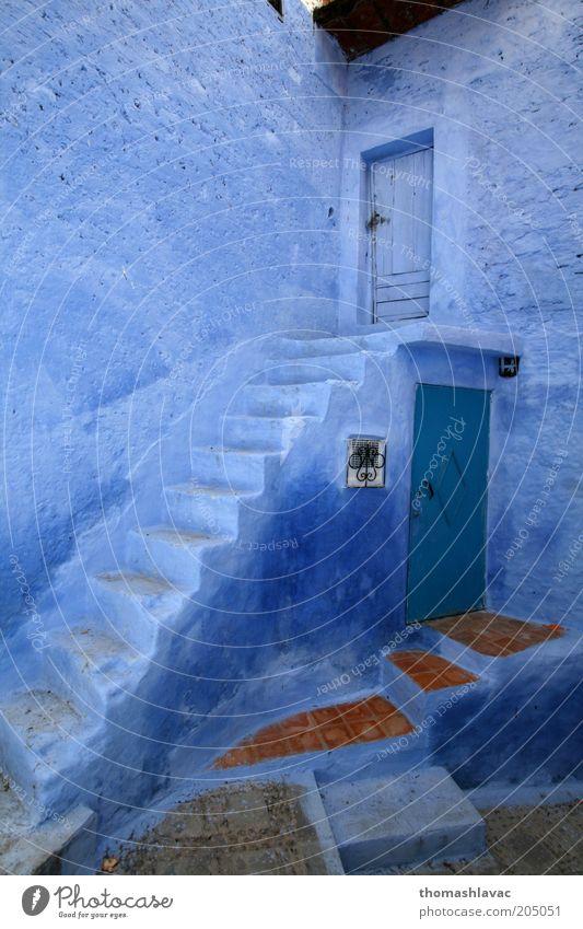 blau Ferien & Urlaub & Reisen Haus Wand Gefühle Mauer Gebäude Tür Fassade Treppe Afrika Dorf Altstadt Marokko Chechaouen