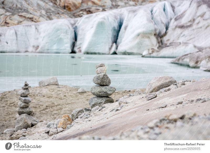 steinmännchen Natur blau braun grau schwarz silber weiß Steinmännchen Außenaufnahme Gletscher Rhone Gletscher Schweiz Sand See Gletschereis Eis Farbfoto