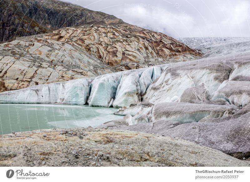 Rhonegletscher Umwelt Natur Landschaft blau braun grau schwarz silber türkis weiß Gletscher Eis Stein Schweiz schmelzen See Rhone Gletscher Wolken