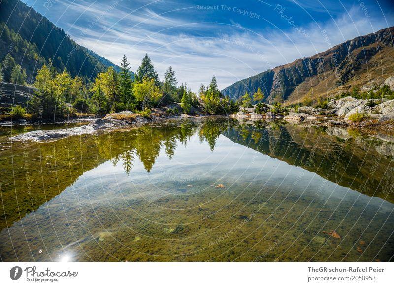 See Umwelt Natur blau grün weiß Reisefotografie wandern Berge u. Gebirge Wald Wasser Baum durchsichtig Reflexion & Spiegelung Schweiz Kanton Wallis Stein Wolken