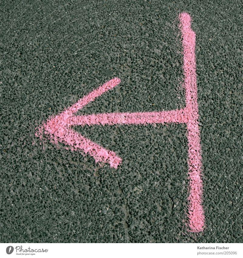 Für rosa Zeiten eindeutig hier lang ! Straße Graffiti Wege & Pfade grau Stein Linie rosa Beton Zeichen Streifen Asphalt Pfeil Richtung Typographie Straßenbelag Wegweiser