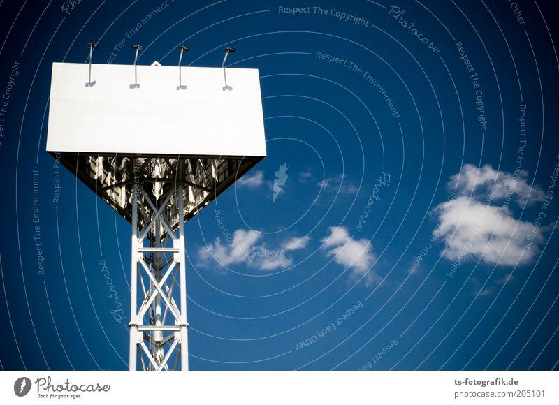 Lost Billboard I Himmel blau weiß Wolken Metall Schilder & Markierungen leer Turm Kommunizieren USA Schönes Wetter Werbung Stahl Handel Textfreiraum Werbebranche