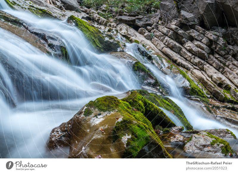 Wasserfall Umwelt Natur Landschaft Wassertropfen blau braun grau grün schwarz weiß Stein Moos Felsen Schweben Langzeitbelichtung Schweiz nass kalt Farbfoto