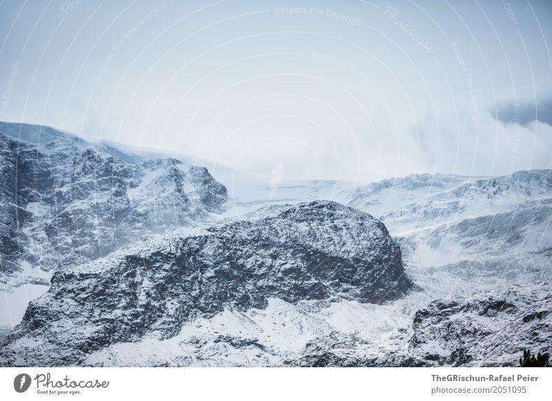 Alpen Umwelt Landschaft Urelemente Erde blau grau schwarz silber weiß Schweiz Berge u. Gebirge Wolken Felsen Stein Schnee schön Gletscher Farbfoto Außenaufnahme