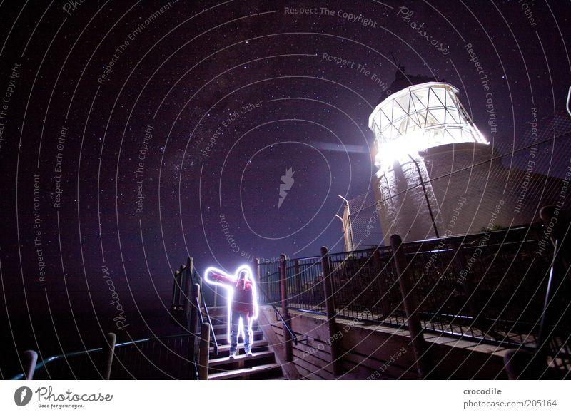 New Zealand 115 Mensch Erwachsene Nachthimmel Stern Leuchtturm außergewöhnlich dunkel fantastisch ästhetisch Stimmung Farbfoto Außenaufnahme Licht Schatten