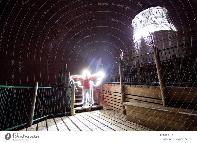 New Zealand 117 Mensch Erwachsene Nachthimmel Stern Leuchtturm außergewöhnlich dunkel fantastisch ästhetisch Stimmung Farbfoto Außenaufnahme Licht Schatten