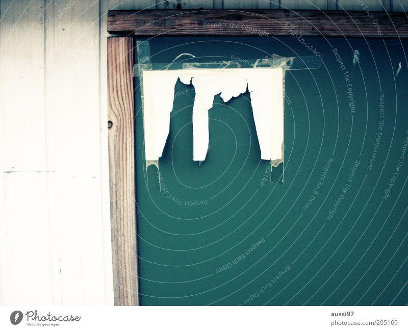 Hab' die langen Unterhosen zum Trocknen aufgehangen Tafel Zettel Zerreißen Information Mitteilung kaputt Fetzen Rest Schnipsel Datenverlust