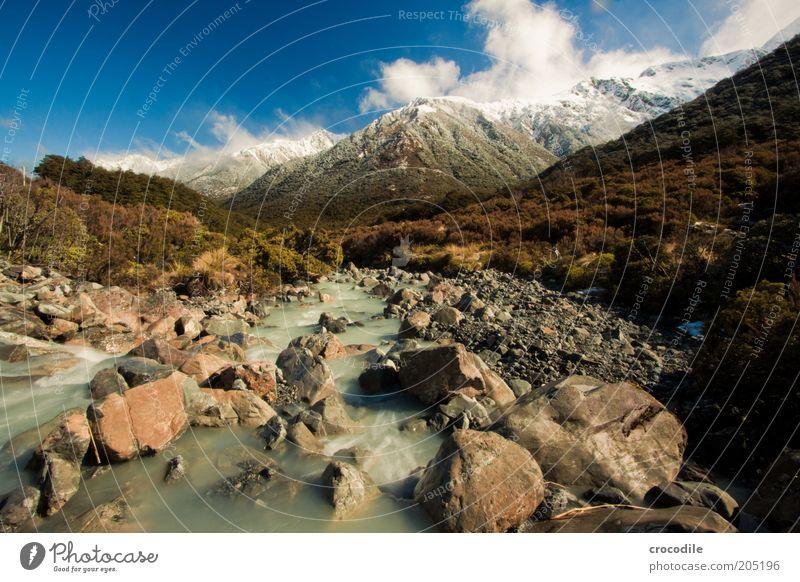 New Zealand 131 Natur Pflanze Ferien & Urlaub & Reisen Wolken Wald Schnee Berge u. Gebirge Landschaft Umwelt Bewegung Felsen ästhetisch natürlich Sträucher Fluss Urelemente