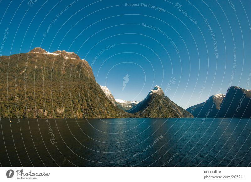 New Zealand 137 Umwelt Natur Landschaft Urelemente Wolkenloser Himmel Schönes Wetter Felsen Alpen Berge u. Gebirge Gipfel Schneebedeckte Gipfel Küste Fjord Meer