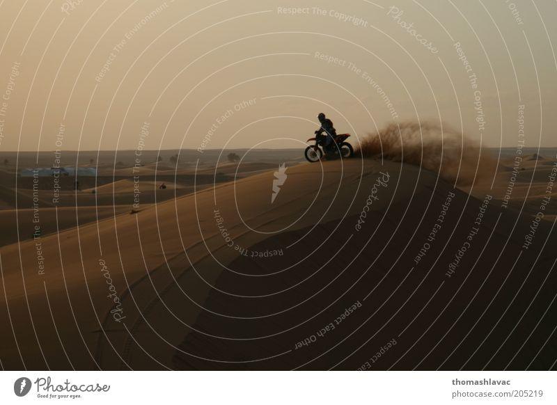 Motorrad auf der Sanddüne Ferien & Urlaub & Reisen Ausflug Abenteuer Motorsport Reiten 1 Mensch Umwelt Landschaft Sonnenaufgang Sonnenuntergang Schönes Wetter