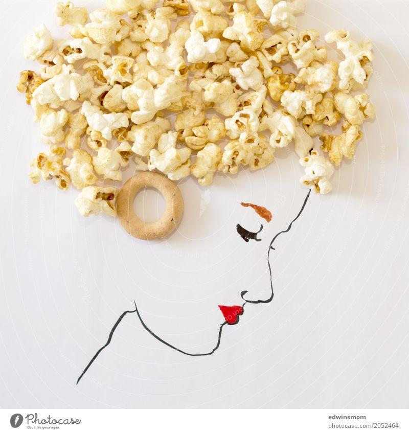 Mrs Sweet Süßwaren Popkorn Freizeit & Hobby zeichnen Sommer feminin Locken Papier Dekoration & Verzierung außergewöhnlich natürlich süß wild gelb weiß Idee