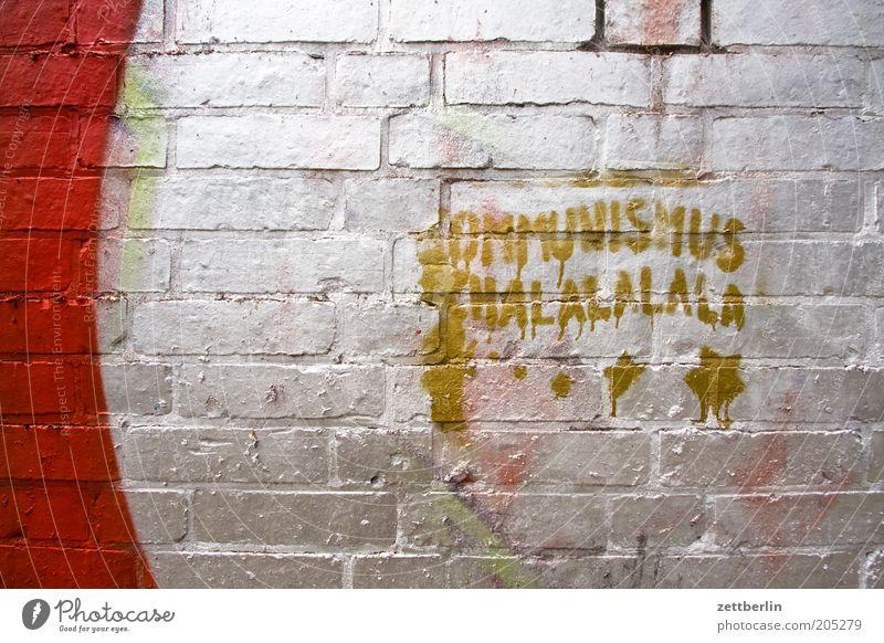 Kommunismus Schalalalala Graffiti Schriftzeichen Beschriftung Typographie Vandalismus Kultur Jugendkultur Mauer Fuge silber Schlagwort Information Mitteilung