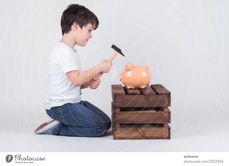Mensch Kind Lifestyle Junge Business Kindheit kaufen Geld Geldinstitut Reichtum Wirtschaft Kleinkind Kapitalwirtschaft 3-8 Jahre knien geizig