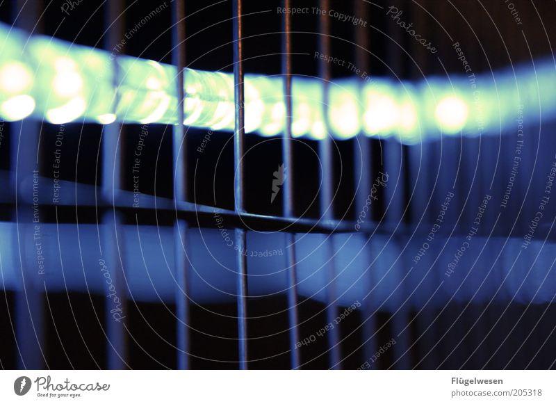 Katy Karrenbauer lebt hinter Gittern Bauzaun gefangen Zaun Lichtschlauch Lichterkette hell leuchten Farbfoto Außenaufnahme Nacht Lichterscheinung Drahtzaun