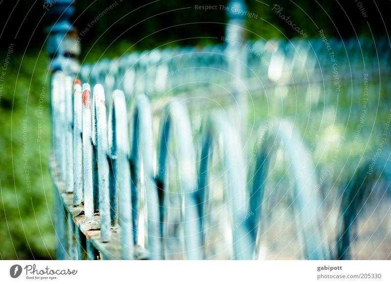 schwache Tiefenschärfe Geländer Zaun Zaunpfahl Eisen blau grün Verfall rund Runde Sache Barriere Begrenzung Farbfoto Außenaufnahme Menschenleer Tag Sonnenlicht