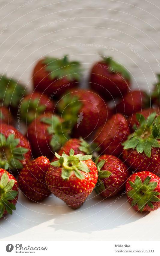 endlich erdbeeren Lebensmittel Frucht Dessert Erdbeeren Picknick Bioprodukte Fasten Fingerfood Gesundheit Duft frisch lecker süß grün rot weiß fruchtig Farbfoto