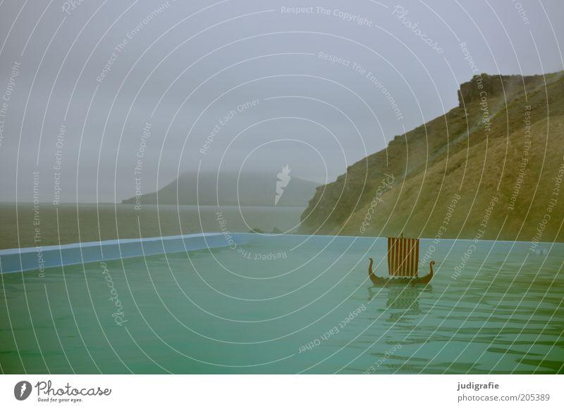 Island Umwelt Natur Landschaft Wasser Himmel Klima Nebel Schifffahrt Segelschiff außergewöhnlich fantastisch nass natürlich Wärme Stimmung Einsamkeit