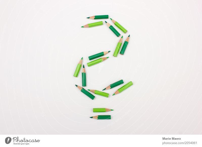 Fragezeichen grün sprechen Business Denken Idee lernen Neugier geheimnisvoll Symbole & Metaphern Wissenschaften Irritation Schreibstift Fragen Unternehmen