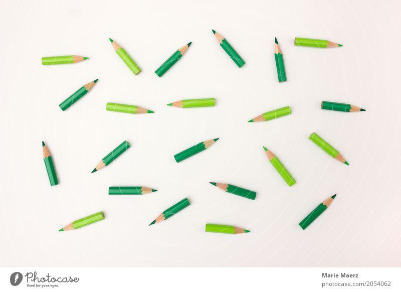Rumliegen grün Bewegung Zusammensein beobachten planen Team viele chaotisch Teamwork Dynamik Schreibstift Schreibwaren unordentlich