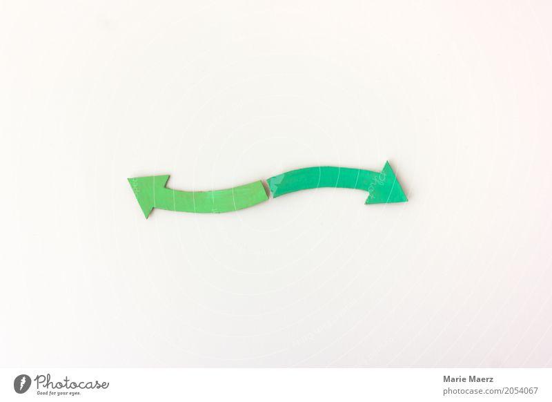 Sowohl als auch grün Bewegung Business einfach planen Ziel Richtung Symbole & Metaphern Pfeil zeigen positiv beweglich Gegenteil Verantwortung entgegengesetzt