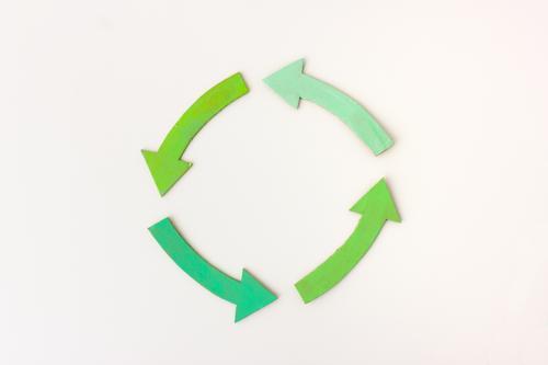 Kreislauf Pfeil drehen einfach nachhaltig positiv achtsam gewissenhaft diszipliniert Zufriedenheit Fortschritt innovativ kompetent planen Qualität Teamwork