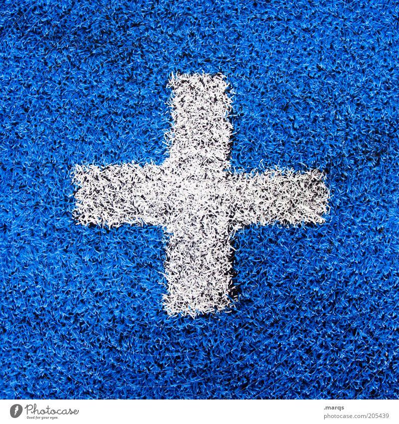 Optimistisch weiß blau Gesundheit Design Schriftzeichen einfach Zeichen Gesundheitswesen Kreuz Kunststoff Wirtschaft positiv rechnen Optimismus Wissenschaften