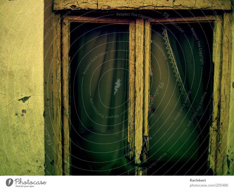 am fenster. Haus Stil Fenster Gebäude kaputt Wandel & Veränderung Vergänglichkeit verfallen Verfall Bauwerk Ruine Vorhang Rahmen Kontrast abblättern Unbewohnt
