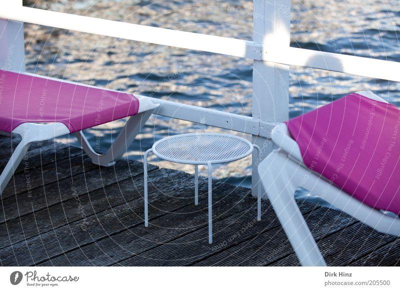 Seeblick in Pink! Lifestyle Stil Design schön Wellness Erholung ruhig Kur Ferien & Urlaub & Reisen Tourismus Sommer Sommerurlaub Meer Möbel Luft Wasser Terrasse