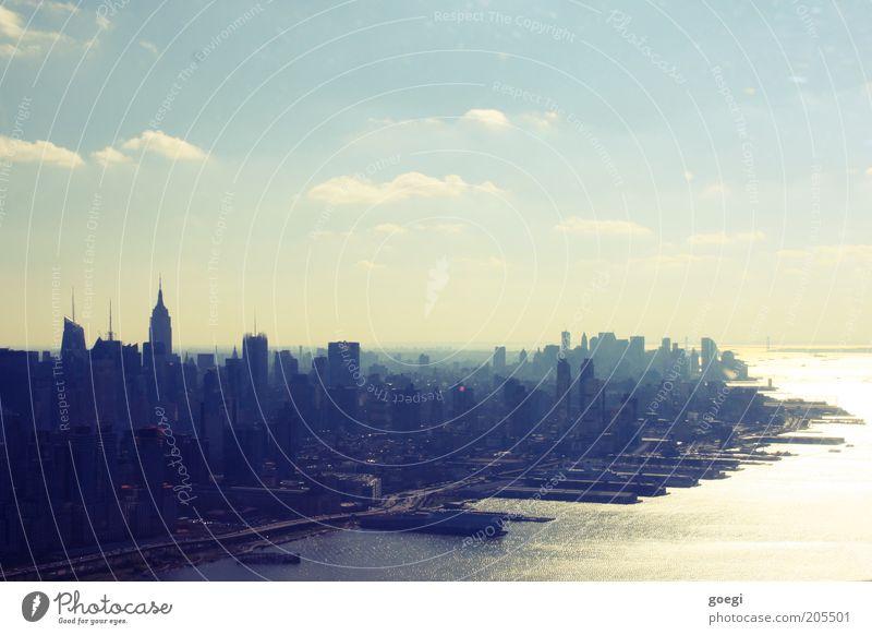 Manhattan 1 Wasser Himmel Stadt Haus Wolken Hochhaus USA Hafen Amerika Skyline Stadtzentrum Schönes Wetter Stadtteil New York City