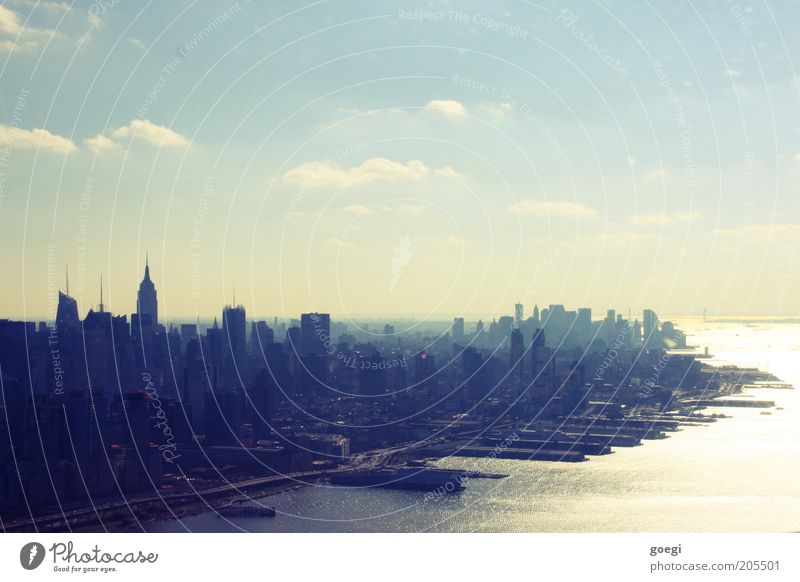 Manhattan 1 Wasser Himmel Stadt Haus Wolken Hochhaus USA Hafen Amerika Skyline Stadtzentrum Schönes Wetter Stadtteil New York City Manhattan