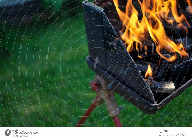flame grilled Freizeit & Hobby Grill Grillen Grillkohle Feuer authentisch gelb grün schwarz Flamme Farbfoto Außenaufnahme Nahaufnahme Textfreiraum links Tag