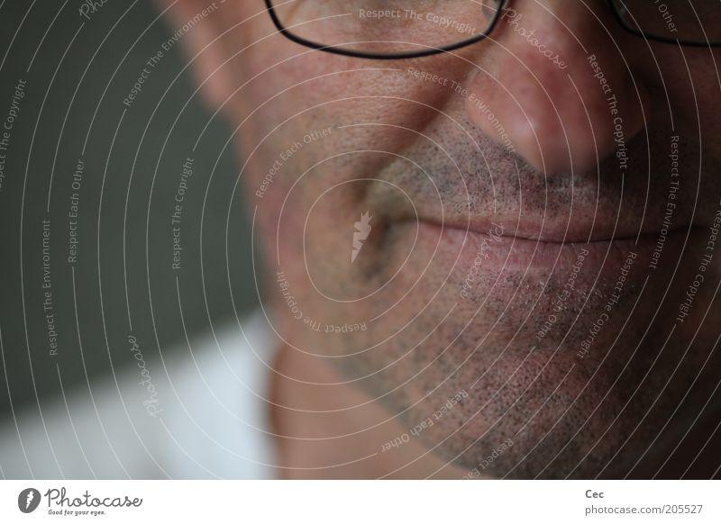 Entspannung Mensch Mann ruhig Senior Kopf Mund Zufriedenheit Haut Erwachsene maskulin Brille Gelassenheit Lächeln Anschnitt Bartstoppel Gesicht