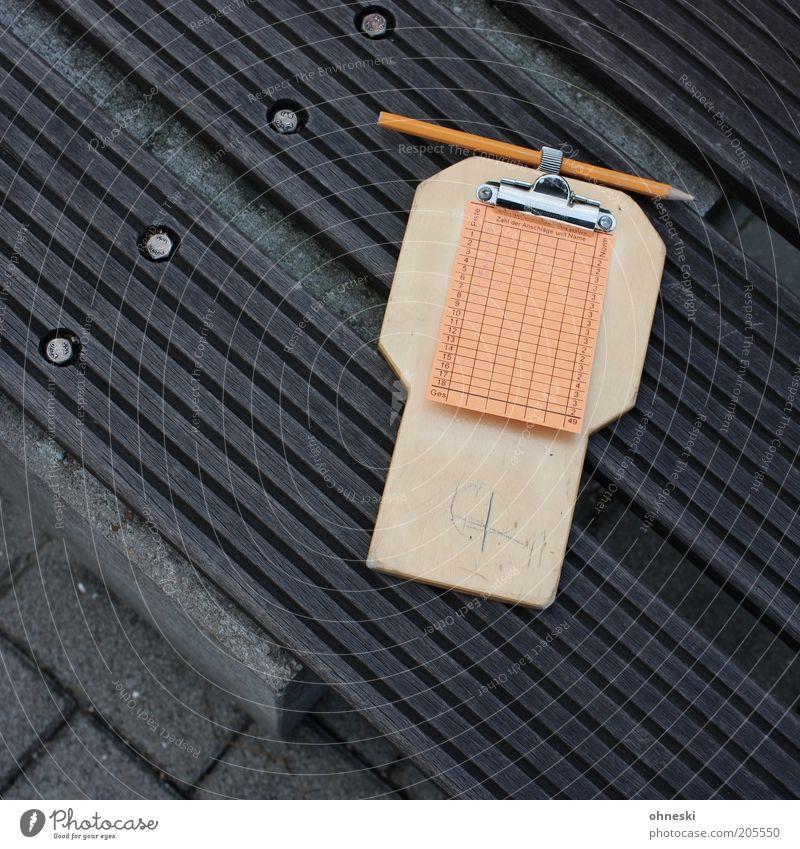 Punktestand Freizeit & Hobby Minigolf Schreibwaren Papier Zettel Schreibstift Holz Bleistift orange Farbfoto Gedeckte Farben Muster Strukturen & Formen