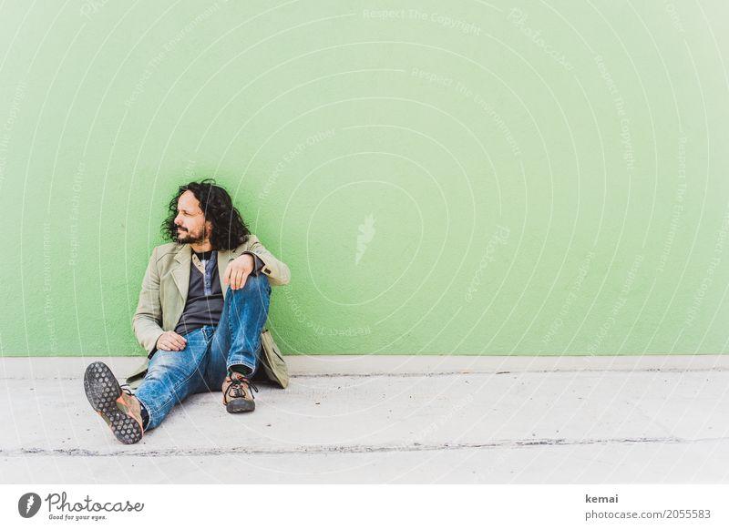 AST10 | Wartezimmer Mensch Mann grün Erholung ruhig Erwachsene Leben Lifestyle Wand Stil Mauer Freizeit & Hobby maskulin sitzen authentisch warten