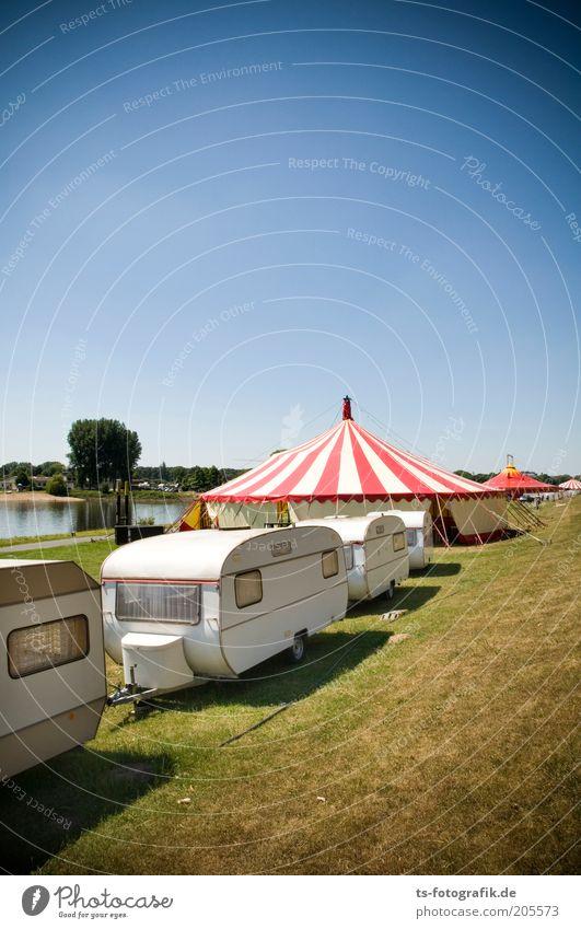 Wanderzirkus-Stau Himmel weiß grün blau rot Sommer Freude Wiese Gras Feste & Feiern Küste Rasen Lebensfreude Veranstaltung Reihe Jahrmarkt