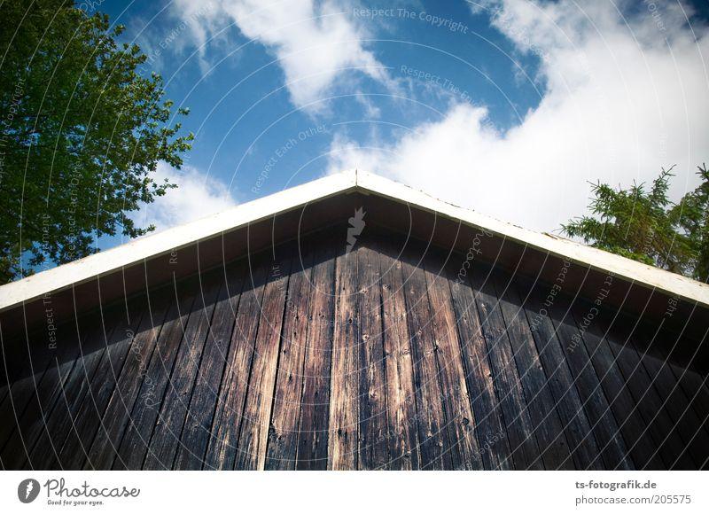 Schwedische Gardine Himmel weiß Baum blau Pflanze Ferien & Urlaub & Reisen Haus Wolken Holz braun Fassade Dach Bauwerk Schönes Wetter Schweden Sommerurlaub