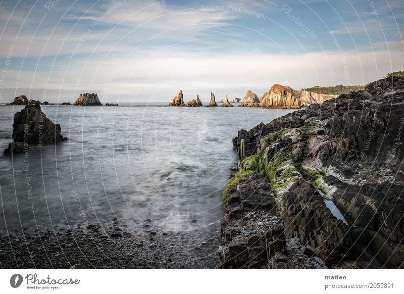 aber zackig Himmel Natur blau grün Wasser weiß Landschaft Meer Wolken Strand schwarz Küste Gras braun Felsen Horizont