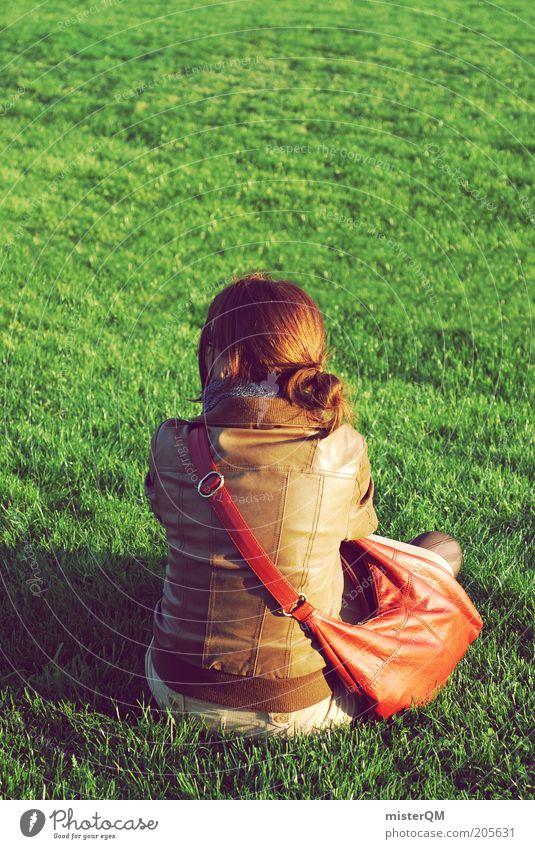 und jetzt? Frau Mensch grün ruhig Einsamkeit Erholung Wiese Freiheit Denken Zufriedenheit warten Mode sitzen ästhetisch