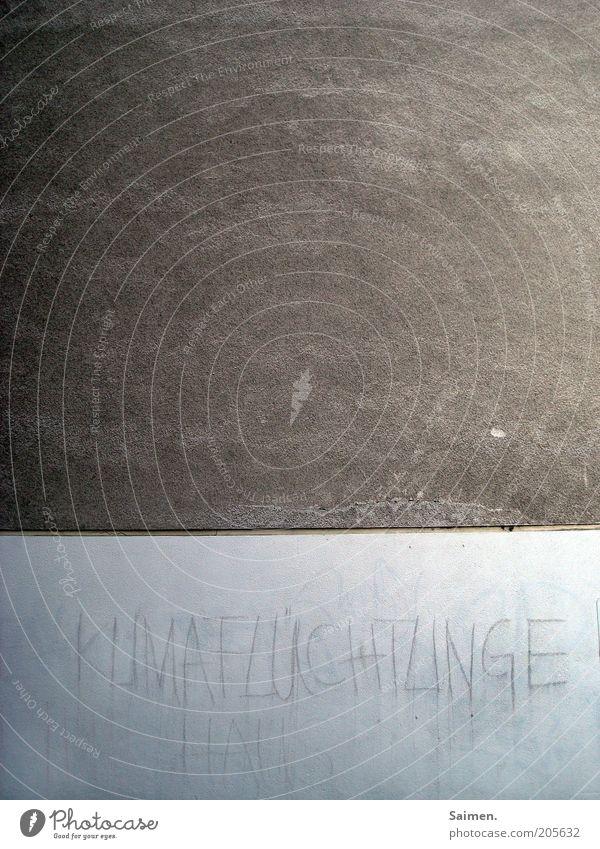 KLIMAFLÜCHTLINGE Wand Gefühle Mauer Fassade Zukunft Schriftzeichen Ende Wandel & Veränderung Klima Schlagwort Gesellschaft (Soziologie) Wort Sorge Klimawandel Zukunftsangst