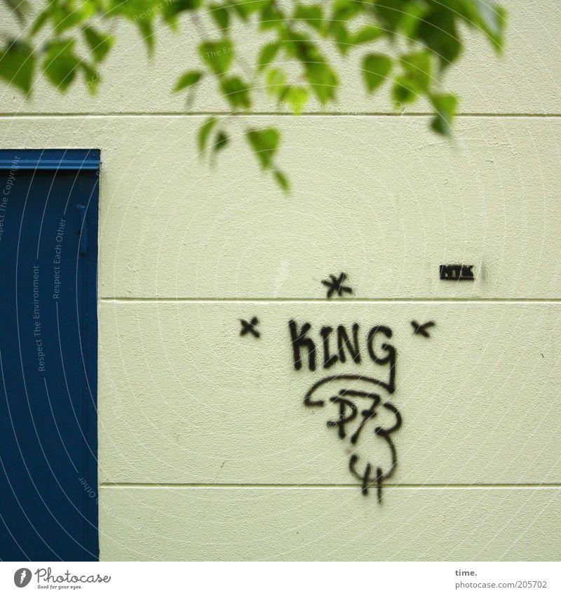 Wir haben einen neuen Bundes-Wulle! Baum grün blau Blatt Graffiti Kunst Tür Schilder & Markierungen Stern (Symbol) Buchstaben Zeichen Eingang König parallel