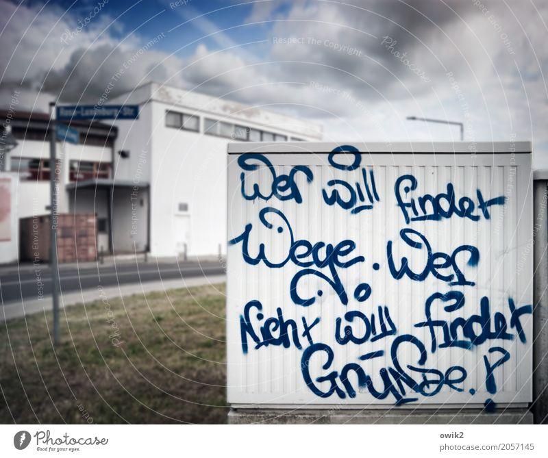 Schrullig Subkultur Graffiti Himmel Wolken Gras Jessen Sachsen-Anhalt Deutschland Haus Mauer Wand Schriftzeichen listig klug Weisheit altklug Transformator