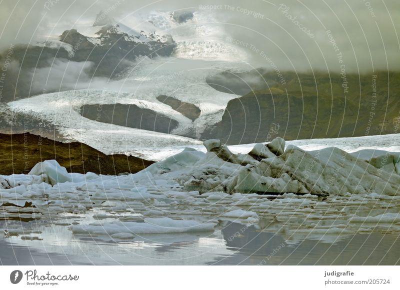 Island Umwelt Natur Landschaft Wasser Wolken Nebel Eis Frost Gletscher See außergewöhnlich bedrohlich kalt natürlich Stimmung einzigartig Idylle Klima